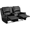 Allure Series 2-Seat Reclining Pillow Back Black Leather Theater Seating Unit with Cup Holders