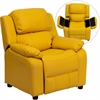 Deluxe Padded Contemporary Yellow Vinyl Kids Recliner with Storage Arms