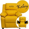 Personalized Deluxe Padded Yellow Vinyl Kids Recliner with Storage Arms