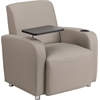 Gray Leather Guest Chair with Tablet Arm, Chrome Legs and Cup Holder
