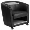 Flash Furniture Black Leather Guest Chair with Tablet Arm, Front Wheel Casters and Under Seat Storage
