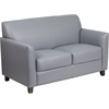 HERCULES Diplomat Series Gray Leather Loveseat