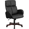 Flash Furniture High Back Black Leather Executive Swivel Office Chair with Fully Upholstered Arms