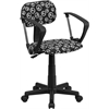 Peace Sign Printed Swivel Task Chair with Arms