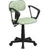 Flash Furniture Green and White Zebra Print Swivel Task Chair with Arms