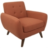 Hemingway Mid-Century Modern Accent Chair in Dark Orange