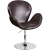 HERCULES Trestron Series Brown Leather Reception Chair with Adjustable Height Seat