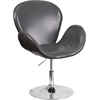 HERCULES Trestron Series Gray Leather Side Reception Chair with Adjustable Height Seat