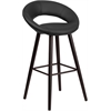 Kelsey Series 29'' High Contemporary Black Vinyl Barstool with Cappuccino Wood Frame