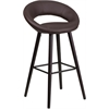 Kelsey Series 29'' High Contemporary Brown Vinyl Barstool with Cappuccino Wood Frame
