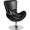 Egg Series Black Leather Side Reception Chair
