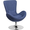 Flash Furniture Blue Fabric Egg Series Reception-Lounge-Side Chair
