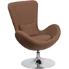Brown Fabric Egg Series Reception-Lounge-Side Chair