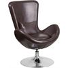 Brown Leather Egg Series Reception-Lounge-Side Chair