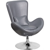 Flash Furniture Gray Leather Egg Series Reception-Lounge-Side Chair