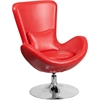 Red Leather Egg Series Reception-Lounge-Side Chair