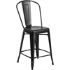 24'' High Matte Black Metal Indoor-Outdoor Counter Height Stool with Back