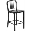 24'' High Black Metal Indoor-Outdoor Counter Height Stool