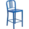 24'' High Blue Metal Indoor-Outdoor Counter Height Stool