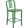 24'' High Green Metal Indoor-Outdoor Counter Height Stool