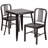 Flash Furniture 23.75'' Square Black-Antique Gold Metal Indoor-Outdoor Table Set with 2 Vertical Slat Back Chairs