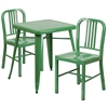 Flash Furniture 23.75'' Square Green Metal Indoor-Outdoor Table Set with 2 Vertical Slat Back Chairs