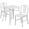 Flash Furniture 23.75'' Square White Metal Indoor-Outdoor Table Set with 2 Vertical Slat Back Chairs