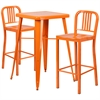 23.75'' Square Orange Metal Indoor-Outdoor Bar Table Set with 2 Vertical Slat Back Barstools