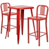 Flash Furniture 23.75'' Square Red Metal Indoor-Outdoor Bar Table Set with 2 Vertical Slat Back Barstools
