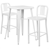 23.75'' Square White Metal Indoor-Outdoor Bar Table Set with 2 Vertical Slat Back Barstools