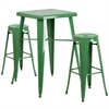 23.75'' Square Green Metal Indoor-Outdoor Bar Table Set with 2 Round Seat Backless Barstools