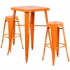 23.75'' Square Orange Metal Indoor-Outdoor Bar Table Set with 2 Round Seat Backless Barstools