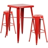 23.75'' Square Red Metal Indoor-Outdoor Bar Table Set with 2 Round Seat Backless Barstools