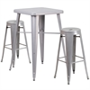 Flash Furniture 23.75'' Square Silver Metal Indoor-Outdoor Bar Table Set with 2 Round Seat Backless Barstools