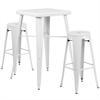 Flash Furniture 23.75'' Square White Metal Indoor-Outdoor Bar Table Set with 2 Round Seat Backless Barstools