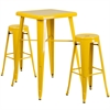 23.75'' Square Yellow Metal Indoor-Outdoor Bar Table Set with 2 Round Seat Backless Barstools