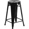 24'' High Backless Black Metal Indoor-Outdoor Counter Height Stool with Round Seat