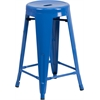 24'' High Backless Blue Metal Indoor-Outdoor Counter Height Stool with Round Seat