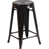 24'' High Backless Black-Antique Gold Metal Indoor-Outdoor Counter Height Stool with Round Seat