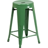 24'' High Backless Green Metal Indoor-Outdoor Counter Height Stool with Round Seat