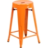 Flash Furniture 24'' High Backless Orange Metal Indoor-Outdoor Counter Height Stool with Round Seat