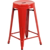 24'' High Backless Red Metal Indoor-Outdoor Counter Height Stool with Round Seat