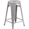 24'' High Backless Silver Metal Indoor-Outdoor Counter Height Stool with Round Seat