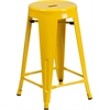 24'' High Backless Yellow Metal Indoor-Outdoor Counter Height Stool with Round Seat