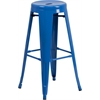 30'' High Backless Blue Metal Indoor-Outdoor Barstool with Round Seat