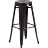 Flash Furniture 30'' High Backless Black-Antique Gold Metal Indoor-Outdoor Barstool with Round Seat