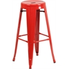 30'' High Backless Red Metal Indoor-Outdoor Barstool with Round Seat