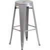 Flash Furniture 30'' High Backless Silver Metal Indoor-Outdoor Barstool with Round Seat