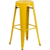 30'' High Backless Yellow Metal Indoor-Outdoor Barstool with Round Seat