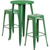 24'' Round Green Metal Indoor-Outdoor Bar Table Set with 2 Square Seat Backless Barstools